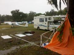 After the tornado hit Sun-N-Fun 2011 - Tent Down