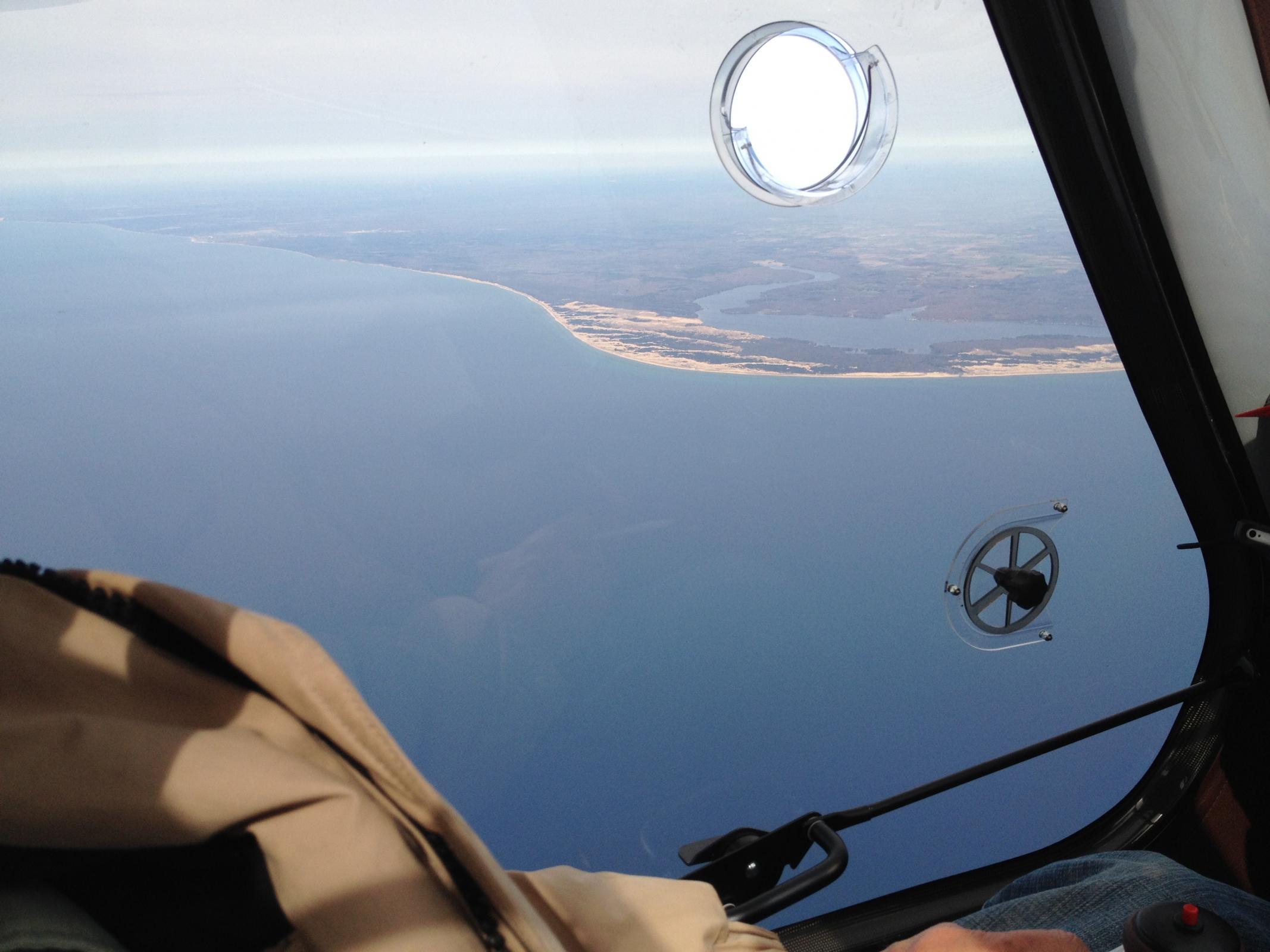 Approaching Lake Michigan shoreline